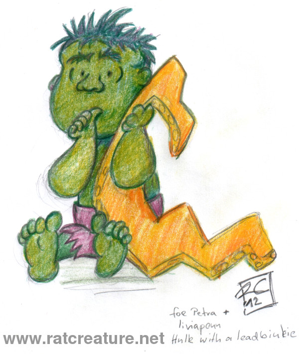 Hulk sitting like Linus from the Peanuts, sucking on his thumb, holding a yellow lead security blanket