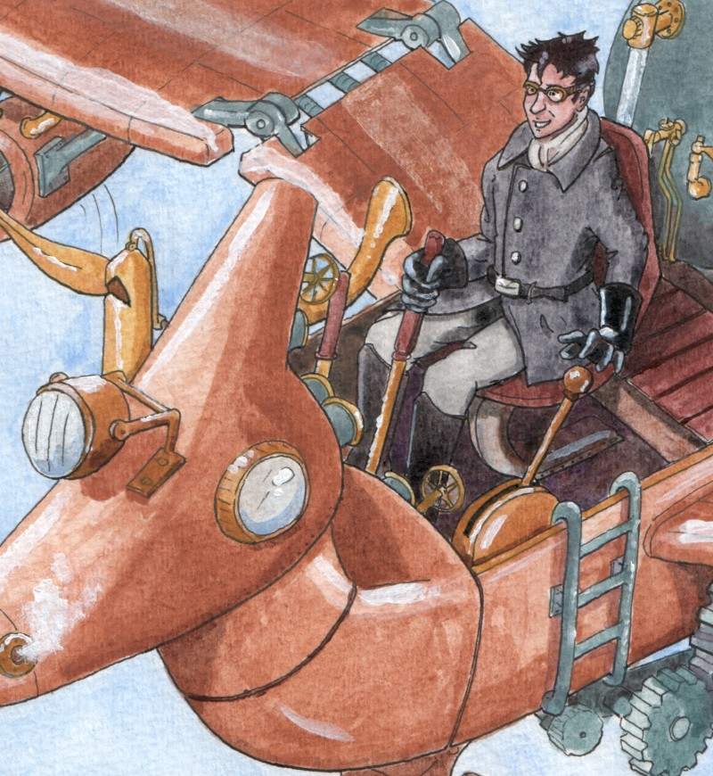 detail of Sheppard flying a Steampunk!Puddlejumper