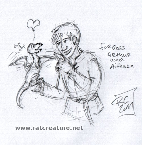 a pencil doodle showing Arthur with Aithusa sitting on his hand.