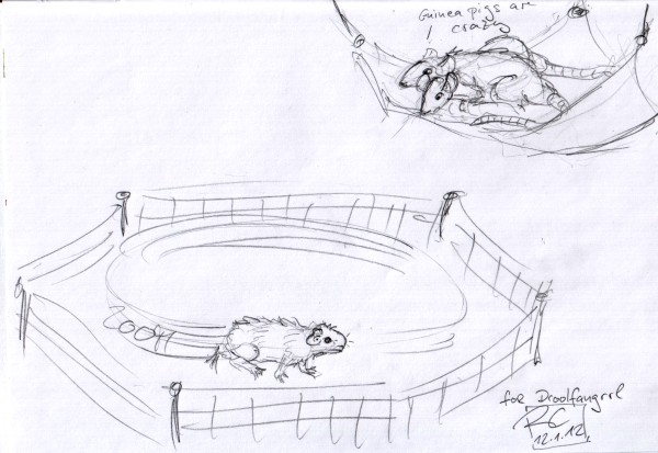 a pencil doodle showing a guinea pig running in circles while bewildered rats look on