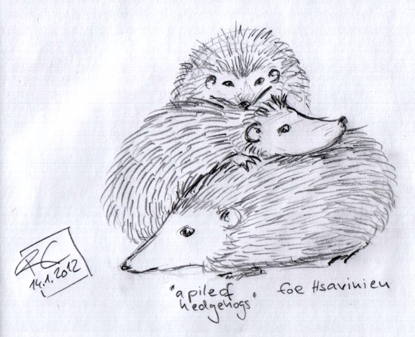a pencil doodle showing a pile of hedgehogs