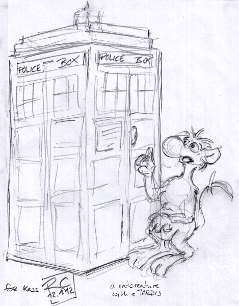 a pencil doodle showing my RatCreature avatar next to a TARDIS