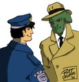 J'onn wearing his 'John Jones' trenchcoat (but with at least some of his aaalien showing, either shape-wise, or with his skin being green, or the eyes -- or all three) caught mid-conversation with Officer Dick Grayson for buggery