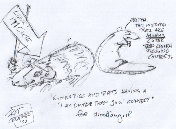 "'Guinea Pigs and Rats having a ""I am cuter than you"" contest' for droolfangrrl"