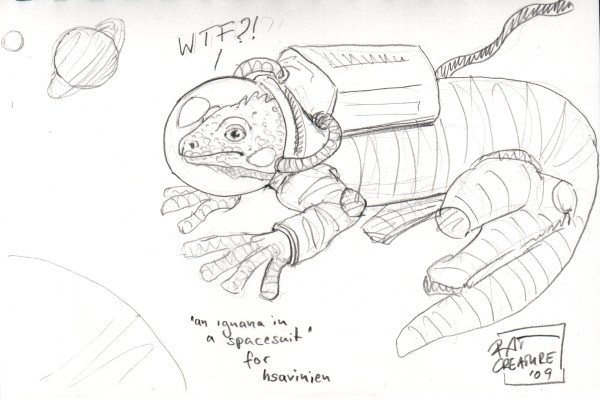 an iguana in a spacesuit