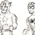 Spider-Man carrying Captain America's schoolbooks for Caia