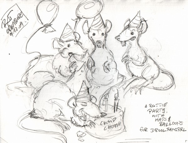 a rattie party, with hats and balloons for Droolfangrrl