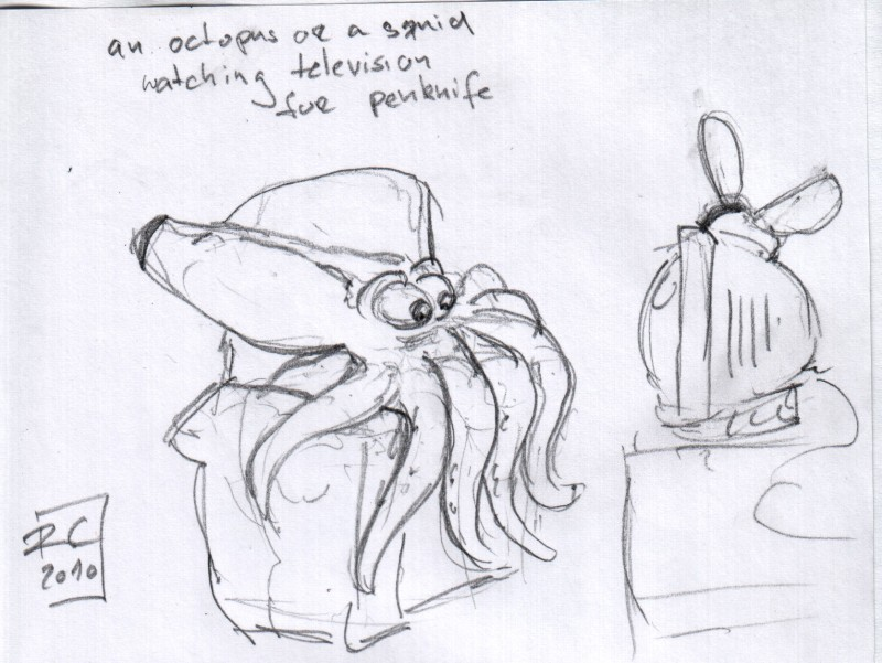 an octopus (or a squid, or some random tentacled creature) watching television for penknife