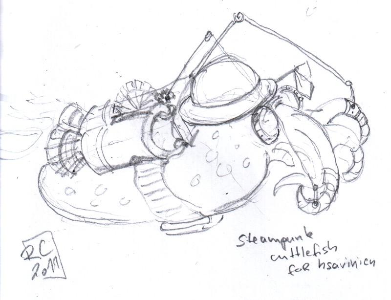 steampunk cuttlefish for hsavinien