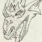 preview of a dragon pencil drawing