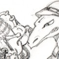 preview of dinosaur with a steampunkish raygun doodle