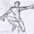 Nightwing patrolling Gotham (DCU), a drawing excercise for practicing silhouettes, pencils