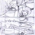 a nine panel comic page as practice in establishing mood visually, pencils